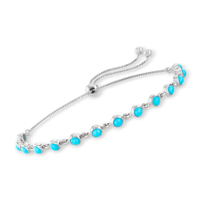 Turquoise Station Bolo Bracelet in Sterling Silver