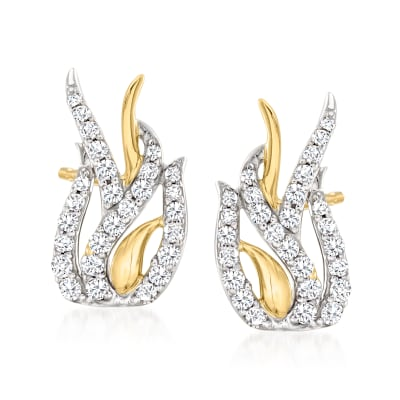 .50 ct. t.w. Diamond Vine Earrings in Sterling Silver and 14kt Yellow Gold