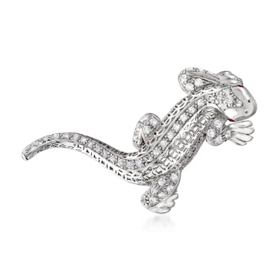 .70 ct. t.w. CZ Lizard Pin with Simulated Ruby Accents in Sterling Silver