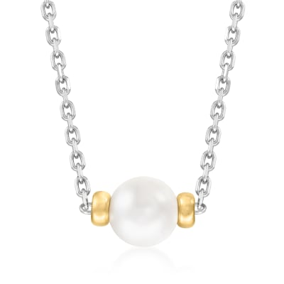 8-8.5mm Cultured Akoya Pearl Necklace in Sterling Silver with 14kt Yellow Gold