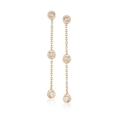 .17 ct. t.w. Diamond Station Linear Drop Earrings in 14kt Yellow Gold