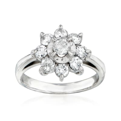 C. 1980 Vintage Tasaki 1.00 ct. t.w. Diamond Flower Ring in Platinum