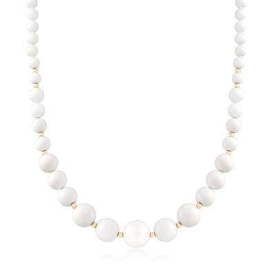 White Agate Bead Necklace in 14kt Yellow Gold