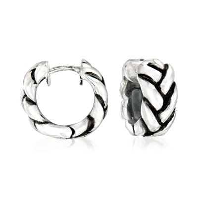 Zina Sterling Silver Braid Huggie Hoop Earrings