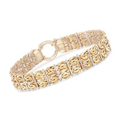 Two-Tone Sterling Silver Double-Row Byzantine Bracelet