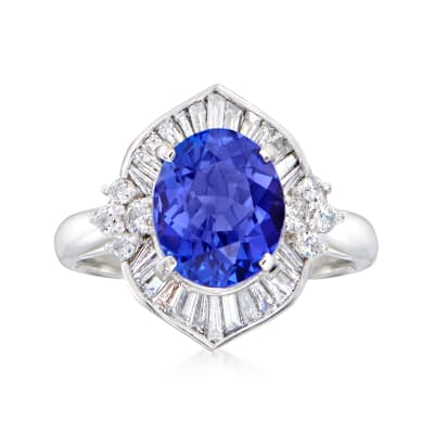 C. 1990 Vintage 4.03 Carat Tanzanite Ring with .86 ct. t.w. Diamond Ring in Platinum