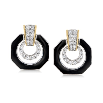 .50 ct. t.w. Diamond and Black Enamel Drop Earrings in Sterling Silver and 14kt Yellow Gold