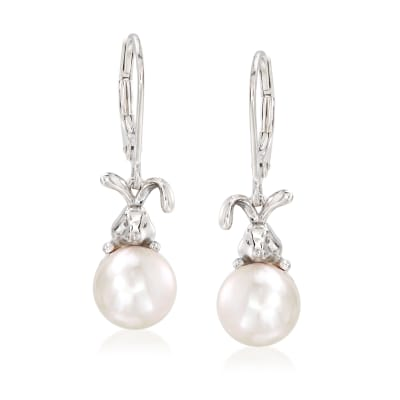 8.5-9mm Cultured Pearl Bunny Drop Earrings in Sterling Silver