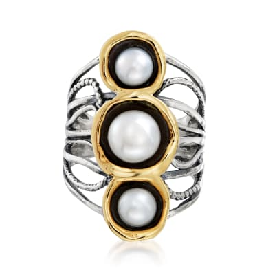 6-8mm Cultured Pearl Open-Space Ring in Sterling Silver and 14kt Yellow Gold