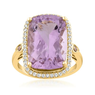 12.00 ct. t.w. Amethyst Ring with .36 ct. t.w. White and Champagne Diamonds in 14kt Yellow Gold