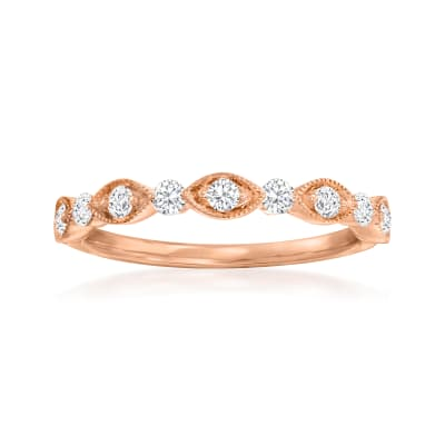 Henri Daussi .30 ct. t.w. Diamond Wedding Ring in 14kt Rose Gold
