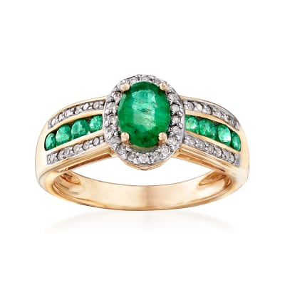 1.20 ct. t.w. Emerald and .22 ct. t.w. Diamond Ring in 14kt Yellow Gold