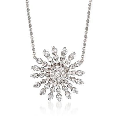 Roberto Coin .70 ct. t.w. Diamond Sunburst Necklace in 18kt White Gold