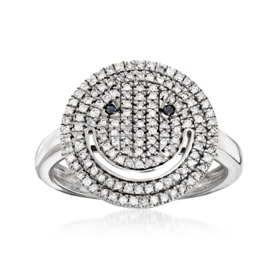 .50 ct. t.w. Black and White Diamond Smiley Face Ring in Sterling Silver