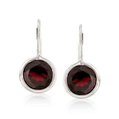 11.00 ct. t.w. Bezel-Set Garnet Earrings in Sterling Silver