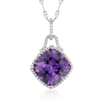 6.75 Carat Amethyst and .30 ct. t.w. Diamond Pendant Necklace in 14kt White Gold