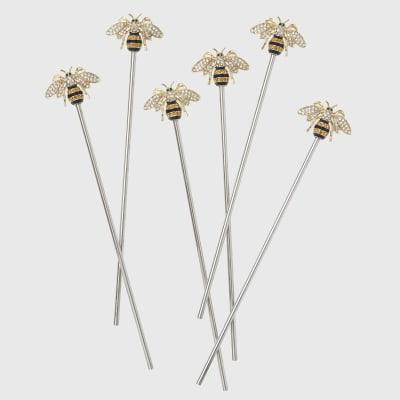 Joanna Buchanan Set of 6 Stripey Bee Swizzle Sticks