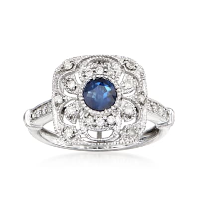 .50 Carat Sapphire and .33 ct. t.w. Diamond Openwork Ring in 14kt White Gold