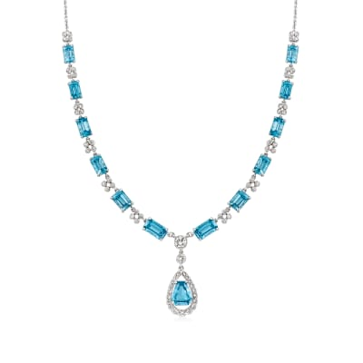 C. 1990 Vintage 18.65 ct. t.w. Swiss Blue Topaz and 2.00 ct. t.w. Diamond Necklace in 18kt White Gold