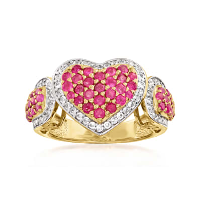 1.35 ct. t.w. Ruby and .55 ct. t.w. White Zircon Heart Ring in 18kt Gold Over Sterling