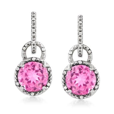 6.73 ct. t.w. Pink Topaz and .11 ct. t.w. Diamond Drop Earrings in Sterling Silver