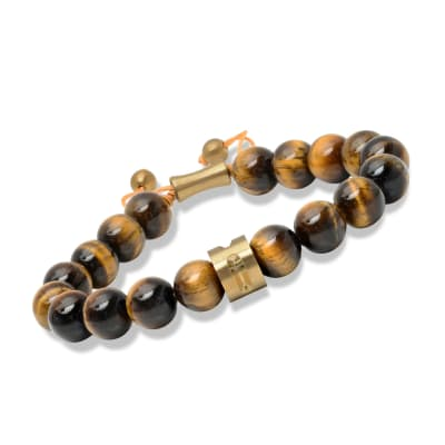 Men's Tigereye Bead Bolo Bracelet with Yellow Stainless Steel