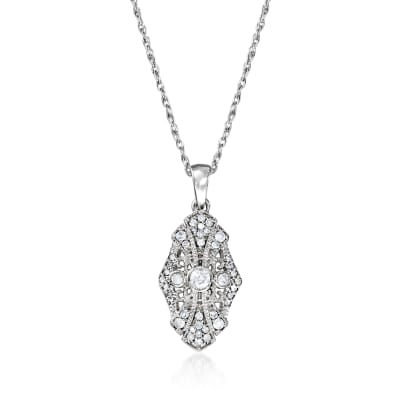.25 ct. t.w. Diamond Openwork Pendant Necklace in Sterling Silver