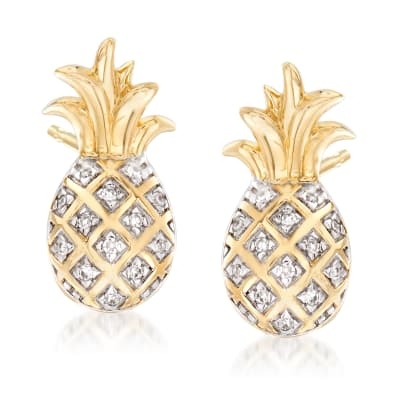 Pineapple Earrings with Diamond Accents in 14kt Yellow Gold