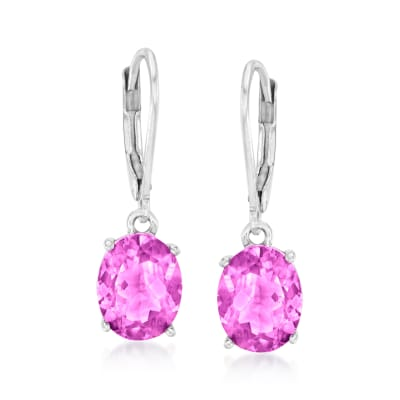 6.50 ct. t.w. Pink Topaz Drop Earrings in Sterling Silver