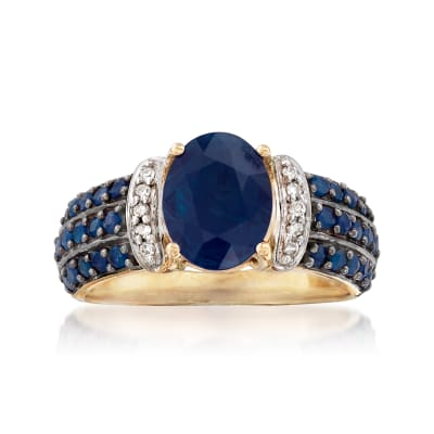 2.60 ct. t.w. Sapphire Ring with Diamond Accents in 14kt Yellow Gold