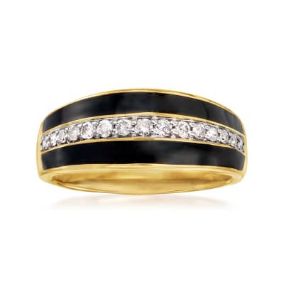 .25 ct. t.w. Diamond and Black Enamel Striped Ring in 18kt Gold Over Sterling