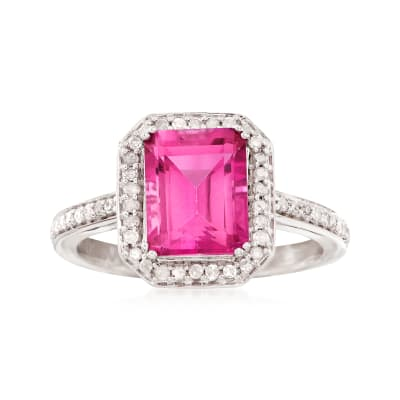 3.00 Carat Pink Topaz and .26 ct. t.w. Diamond Ring in 14kt White Gold