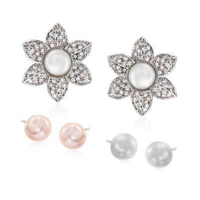Italian 7-8mm Cultured Pearl Jewelry Set: Three Pairs of Studs with 1.00 ct. t.w. CZ Flower Earring Jackets in Sterling Silver