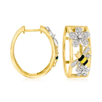 .14 ct. t.w. Diamond Bumblebee and Flower Hoop Earrings with Multicolored Enamel in 18kt Gold Over Sterling