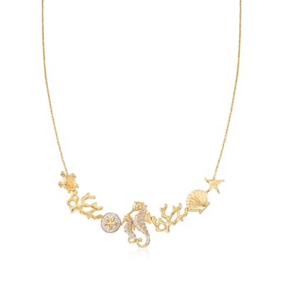 .25 ct. t.w. Diamond Sea Life Necklace in 18kt Gold Over Sterling