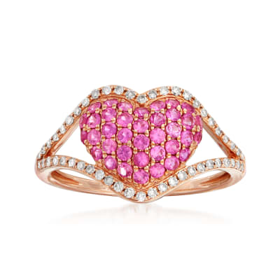.60 ct. t.w. Pink Sapphire and .20 ct. t.w. Diamond Heart Ring in 14kt Rose Gold