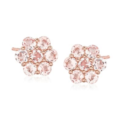 1.50 ct. t.w. Morganite Flower Earrings in 18kt Rose Gold Over Sterling