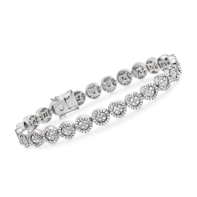 4.25 ct. t.w. Diamond Halo Circle Link Bracelet in 18kt White Gold