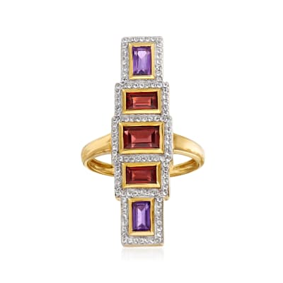 2.30 ct. t.w. Multi-Gemstone Bar Ring in 18kt Gold Over Sterling