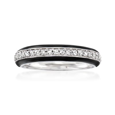 .25 ct. t.w. Diamond Ring with Black Enamel in Sterling Silver