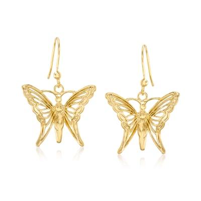 Italian 18kt Gold Over Sterling Butterfly Drop Earrings