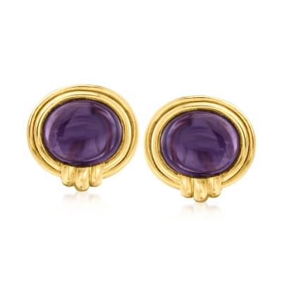 C. 1980 Vintage 9.00 ct. t.w. Amethyst Earrings in 14kt Yellow Gold