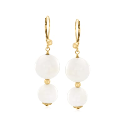 White Agate Bead Drop Earrings with 14kt Yellow Gold
