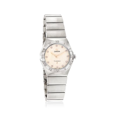Omega Constellation Women's 28mm Stainless Steel Watch with Diamonds and Creamy Silver Dial