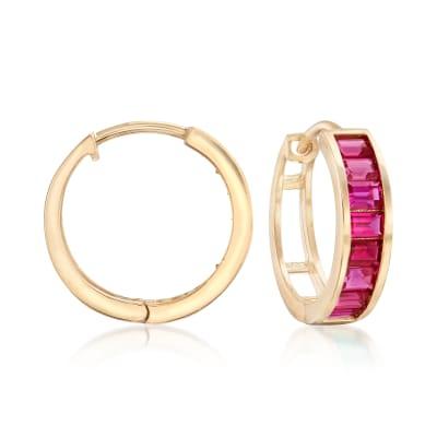 Baguette Simulated Ruby Hoop Earrings in 14kt Yellow Gold