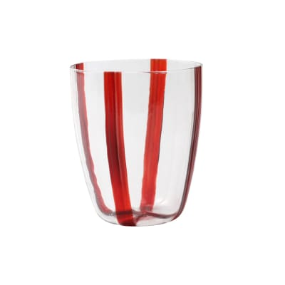 "Vietri ""Stripe Red"" Short Tumbler from Italy"