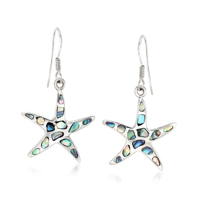 Abalone Shell Starfish Drop Earrings in Sterling Silver