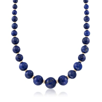 6-18mm Graduated Blue Lapis Bead Necklace with 14kt Yellow Gold