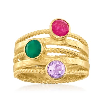 Green Chalcedony and 1.20 ct. t.w. Multi-Gemstone Multi-Row Ring in 18kt Gold Over Sterling