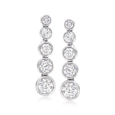 2.00 ct. t.w. Diamond Linear Drop Earrings in 14kt White Gold